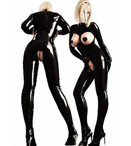 Zurück Catsuit (DuuoZy Frauen Sexy Cupless Geöffneter Gabelung Catsuit Overall Kunstleder Wet Look Club Bodysuit Plus Größe , black , xl)