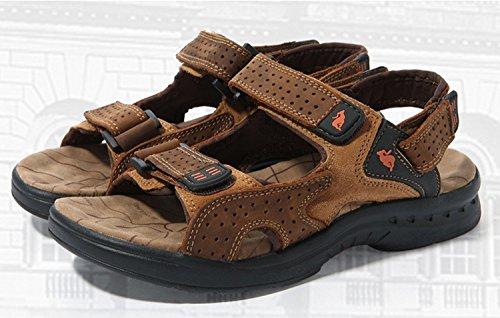 Dayiss Herren Jungen Leder Sandalen Sport- & Outdoor Schuhe Sandaletten Braun