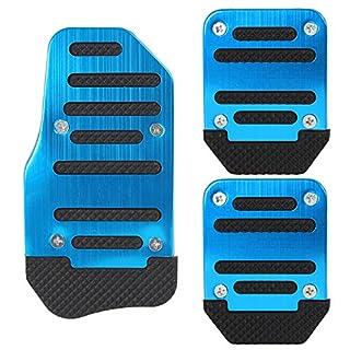 AutoSunShine Blau Universal-Auto NEU Aluminium Legierung rutschfeste Sport Kraftstoff Benzin Kupplung Bremse Bremsen Pad Fuß Pedale Rest Teller-Set Blau