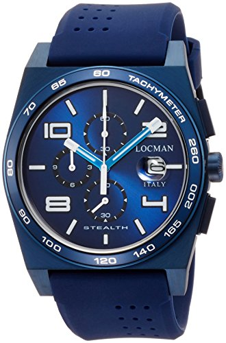 LOCMAN MEN'S 43MM BLUE RUBBER BAND STEEL CASE QUARTZ WATCH 0209BLBBLWHWSIB
