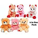 Cips Teddy Bear Combo 15 Cm ( 6 In One Pack ) (Multicolor) Soft Toys