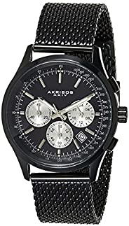 Akribos XXIV Men's Black Chronograph Tachymeter Scale Watch - Matte Dial - Luminous Hands and Markers - St