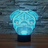Ruumika French bulldog Dog Night light 7Color Changing SharPei Light Sign Animal Puppy 3D Bulb Lamp Bedroom Illusion Lighting Home Decor