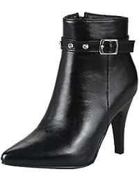 UH Damen Stiefeletten High Heels Spitze Stiletto Ankle Boots mit Strass und  Reißverschluss Schnalle 8cm Absatz 797458eae0