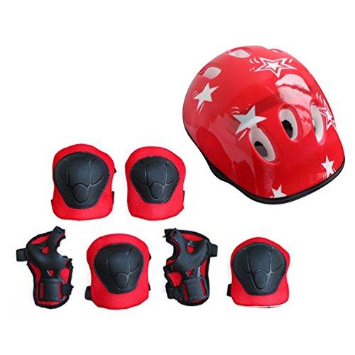 7PCS / Set Universal para niños, niños, Equipo de protección, cómodo, patineta, patineta, Rodillo, Ciclismo, Rodilleras, Rodilleras, Set, Rojo, tamaño