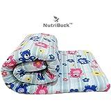 NutriBuck Microfibre Reversible Comforter, Single Bed Quilt/Dohar/AC Blanket (Light Blue - Teddy Bear Print) + 1 Pillow Cover Free