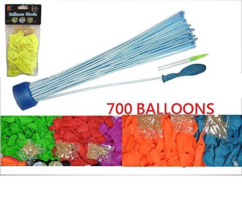 Preisvergleich Produktbild Luftballons / Wasserballons, 700Ballons, 700Gummibänder und 6Spitzen zum Befestigen der Ballons 6Colores