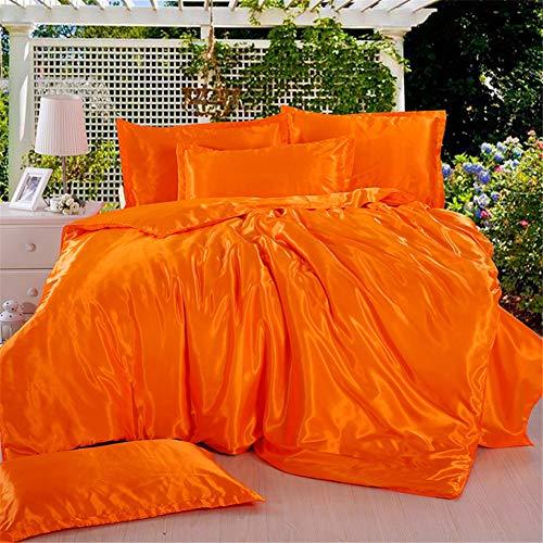 , 4 Teilige Einfarbige Seide Flaches Blatt Mikrofaser mit Reißverschluss Sparset x Bettbezug mit und Kopfkissenbezüge (200x230cm,Orange) ()