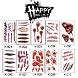 Kwock Halloween Horror Zombie Scars Tattoos Stickers Waterproof Temporary Tattoo Wound Removable Special Costume Makeup Stickers 10pcs