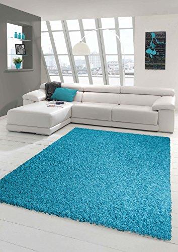 Shaggy Teppich Hochflor Langflor Teppich Wohnzimmer Teppich Gemustert in Uni Design Türkis Größe 160x230 cm