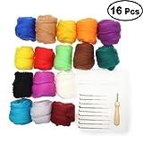 OUNONA Needle Felting Wool Set per Arte Manufatto Fai Da Te 16 colori (10g Ogni colore)