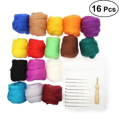 Ounona set di 16colori aghi infeltrimento lana infeltrimento starter kit strumenti di feltro infeltrimento hand spinning fai-da-te materiali (10g ogni colore)