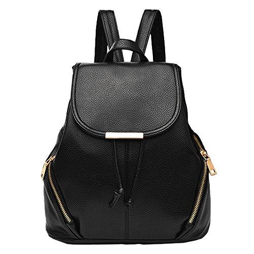 TianWlio Handtasche Damen Mode Schule Leder Rucksack Schultertasche Mini Rucksack für Frauen & Mädchen schwarz (Aufhänger Für Frauen Pullover)