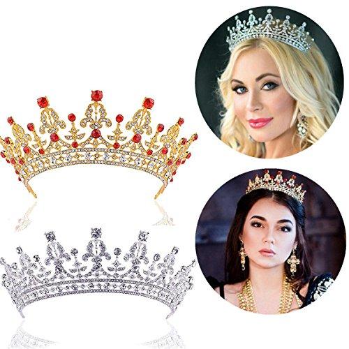 Frcolor Damen Prom Königin Kristall Strass Volldiamant Dekoration Krone Tiara Prinzessin Crown (Golden)