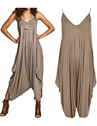 162ff490c6ca Ladies Womens Lagenlook Strappy Baggy Harem Jumpsuit Play-suit Dress (one  size(8