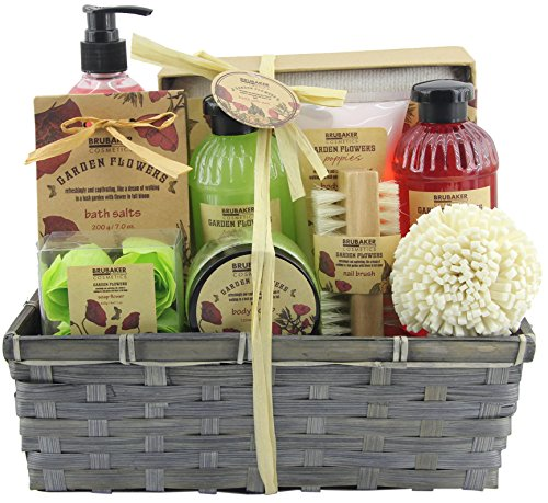 BRUBAKER Cosmetics Set de Baño y Ducha'Garden Flowers' - Fragancia de Flores de adormidera - Set de regalo de 14 piezas en una cesta - con cepillo de uñas