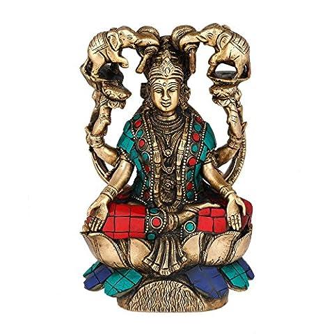 Laxmi Statue Lakshmi en laiton figurine hindou déesse Idole religieuse sanctuaire Turquoise