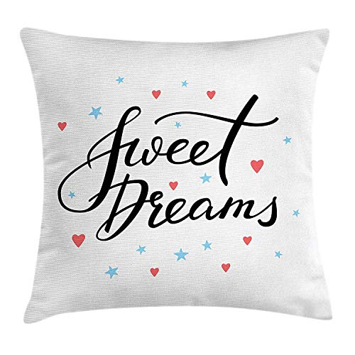 Sweet Dreams Eye Pillow (K0k2t0 Sweet Dreams Throw Pillow Cushion Cover, Hand Written Style Motivational Quote Calligraphy with Little Stars and Hearts, Decorative Square Accent Pillow Case, 18 X 18 Inches, Multicolor)