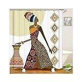 KnSam Anti-Schimmel Duschvorhang Cartoon Frau Badewanne Vorhang Anti-Bakteriell, Waschbar, Wasserdicht PEVA inkl. 12 Duschvorhangringe für Badzimmer 180x180cm