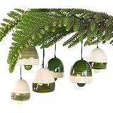 Maya Organic Handcrafted Wooden Christmas Decor : BELLS - Green (set of six)