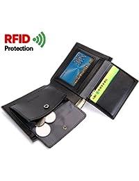 Monedero para hombre RFID de cuero que bloquea la cartera para hombre Bifold con ventana de