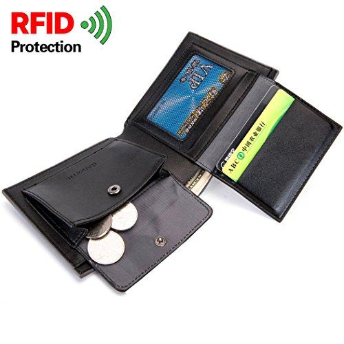 ALAIX Portafoglio per uomo in pelle RFID Blocking Bifold Portafoglio uomo con 2 finestra di identificazione