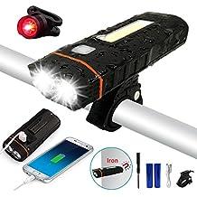 LENDOO Luce per Bicicletta,4000mAh/500Lumen USB Ricaricabile Luci Bici,Impermeabile LED Faro e Fanale Posteriore,3 Modalità, Batterie Inclusive,Usare Come Caricabatterie Portatile