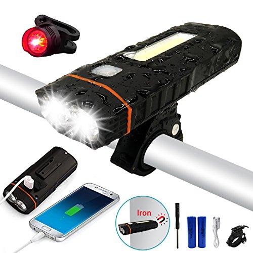 LED Fahrradbeleuchtung set, LENDOO LED Fahrradbeleuchtung Superhell mit Wasserdicht IPX4, 500 Lumens, mit 4000 mAh Lithium-Batterie Mini, Externer Akku Ideal für Mountainbikes,Straßenrädern,Camping
