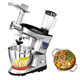 CHEFTRONIC Heating Bowl Multifunction Stand Mixers SM-1088 220-240V/1000W 6.2QT Stainless Bowl Multifunction Kitchen Electric Mixer Machine with Meat Grinder Blender Function