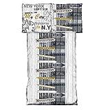 JEMIDI Bettwäsche Garnitur Bettbezug 155cm x 220cm + 80cm x 80cmvon Microfaser Übergröße Komfortgröße XXL Bettgarnitur Bettbezüge Bettenset Manhattan