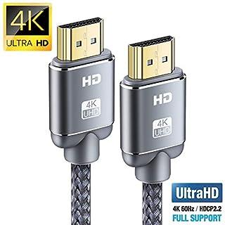 Câble HDMI 4K 2m - Snowkids Câble HDMI 2.0 Haute Vitesse par Ethernet en Nylon Tressé Supporte 3D/ Retour Audio - Cordon HDMI pour Lecteur Blu-Ray/Xbox/Xbox 360/ PS3/ PS4/ TV 4K Ultra HD/Ecran - Gris