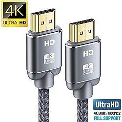 Câble HDMI 4K 2m - Snowkids Câble HDMI 2.0 Haute Vitesse par Ethernet en Nylon Tressé Supporte 3D/ Retour Audio - Cordon HDMI pour Lecteur Blu-Ray/Xbox 360/ PS3/ PS4/ Netfix/Fire TV UHD/Ecran - Gris