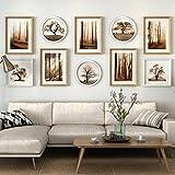& Design di montaggio a parete Set di cornici per parete 10PCS, sala da soggiorno cornice paesaggio pittura dipinti muratura fresca dipinti murali combinazione ( Colore : B , dimensioni : 10frames/230*103CM )
