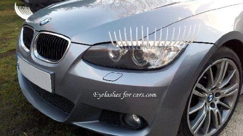 Weiß Auto Wimper mit grünem Kristall Eyeliner universell passend für alle Fahrzeug (Weißes Auto Wimpern)