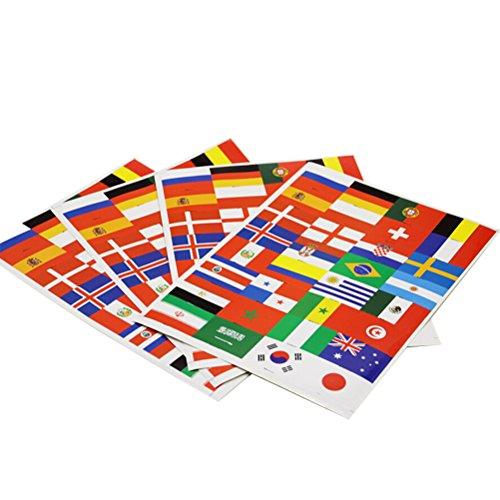 LUOEM 32 Stück WM 2018 Nationalflagge Tattoo Aufkleber Temporäre Tattoo 32 Länder Flagge für Fans (5 Blätter) (Make-up Jubeln)