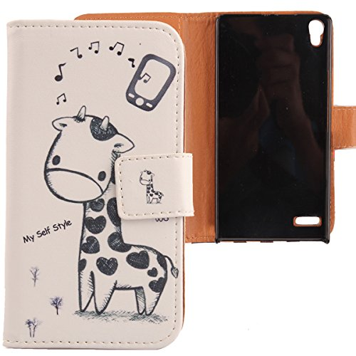 Lankashi PU Flip Leder Tasche Hülle Case Cover Schutz Handy Etui Skin Für Huawei Ascend P6 Giraffe Design