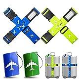 Cinghia per valigia,Yosemy 4 pezzi di Cintura regolabile con 2 pezzi Tag bagagli durevoli forti bagagli ,Accessori indispensabili per viaggiare, Viaggiare in sicurezza