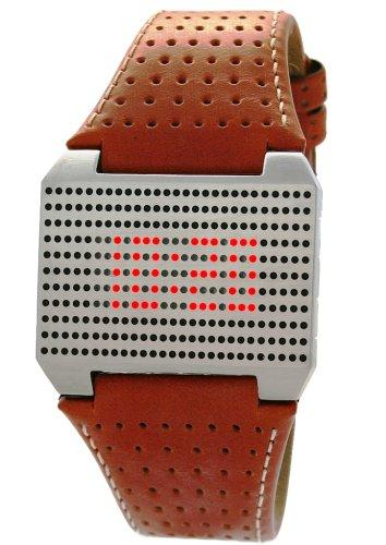 Davis 1301 - Reloj digital de cuarzo para mujer con correa de piel, color marrón
