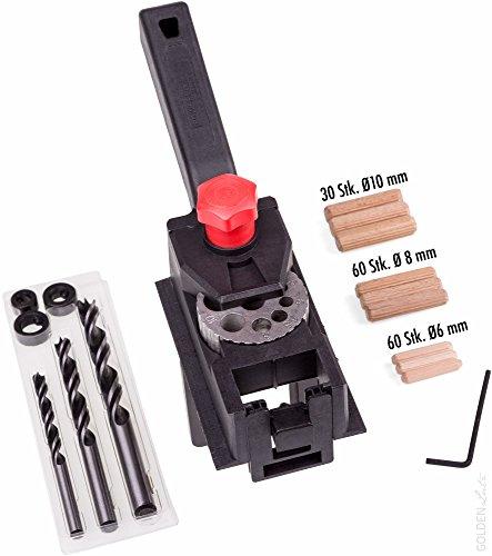 POWERFIX® Bohr- und Dübellehre Set (inkl. 3 Bohrer, 3 Tiefenstopps, 150 Holzdübel)