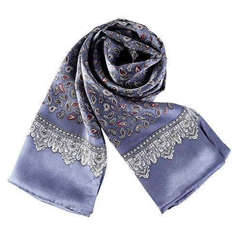 rren 100% Seide Schal Vintage Pattern Seidenschal Herrenschal, Paisley # 1 Silber ()