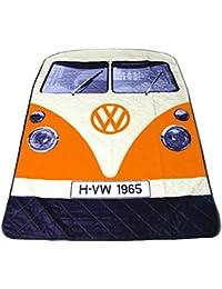 Manta para picnic de diseño furgoneta Volkswagen T1de color naranja