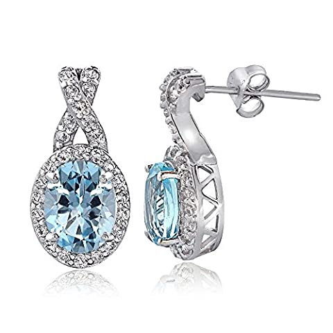 Sterling Silver 4ct Blue & White Topaz X and Oval
