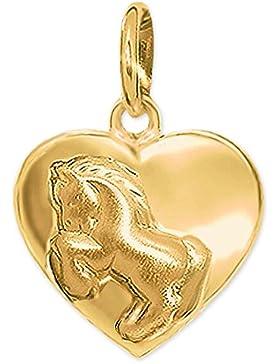 CLEVER SCHMUCK Goldener Anhänger Herz 10 mm gewölbt geschlossen glänzend mit Pferd springend seidenmatt 333 GOLD...