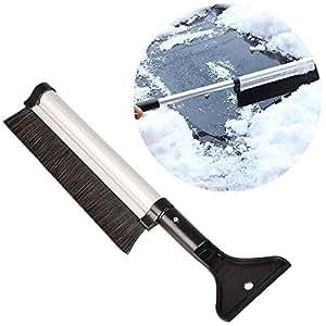ToxTech 2 in 1 telescopica Pala da neve, Lega di alluminio elastico Pala Ghiaccio Pala con la spazzola della neve per parabrezza del veicolo da auto Casa Finestra