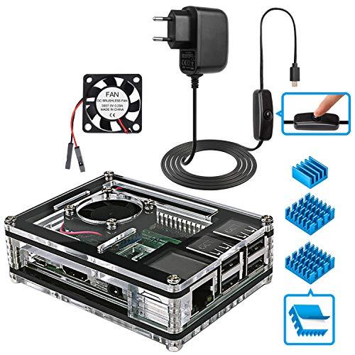 Miuzei Raspberry Pi 3 b+ Gehäuse mit 5V 3A Netzteil, Lüfterkühlung, 3 × Aluminium Kühlkörper, USB Kabel mit EIN/Aus Schalter Kompatibel mit Raspberry Pi 3B+, 3B 2 Model b (2 Pi Raspberry Computer)