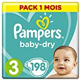 Pampers - Baby Dry - Couches Taille 3 (6-10/5-9 kg) - Pack 1 mois (x198 couches)