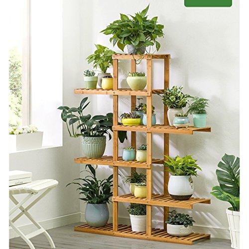 JXXQD Imprägniern Sie Boden-Blumentopf-Gestell-Balkonregal des Bambusregals mehrschichtiges im Freien (Size : 98 * 28 * 132cm)