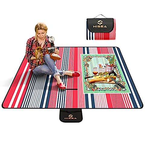 Hisea Picnic Blanket with Waterproof Backing 200x200cm XXL Large Beach