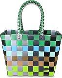 normani Einkaufskorb Shopper geflochten aus Kunststoff - robuster Strandkorb aus wasserabweisendem Material Farbe Classic/Element