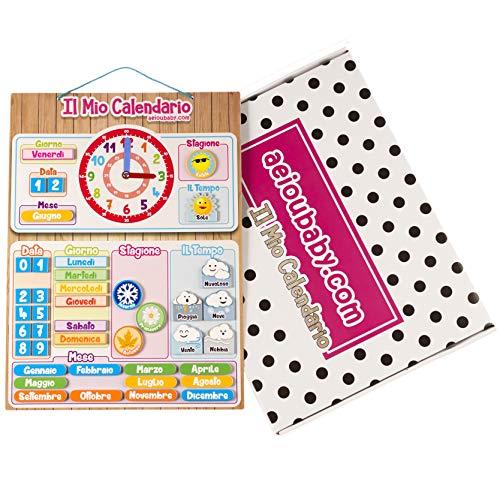 Calendario orologio magnetico per bambini, gioco educativo data tempo e ora per parete o frigorifero, 43x32cm. scatola ideale come regalo di compleanno per bambini a scuola o asilo nido (italiano)
